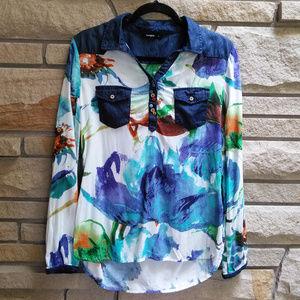 Desigual Blue Floral Print Denim Pockets Shirt M